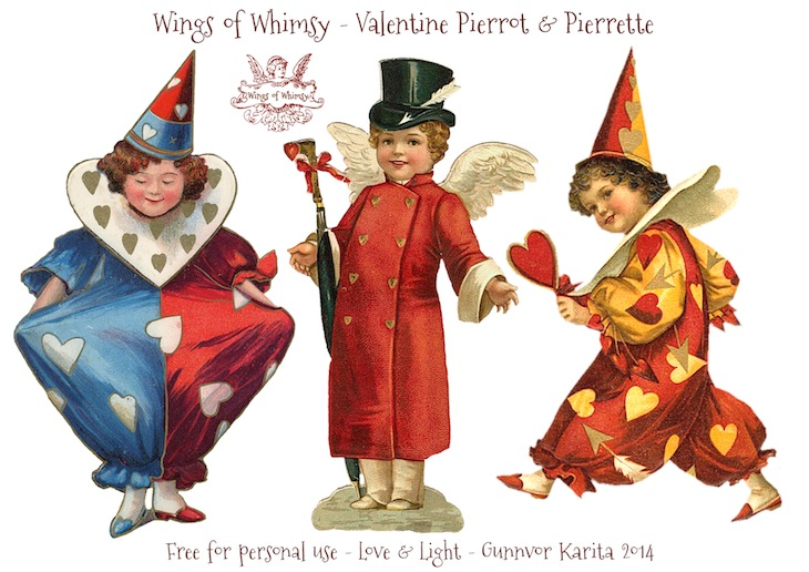 Wings of Whimsy: Vintage Valentine Pierrots & Pierrettes - DAY 5 - free for personal  use #vintage #ephemera #printable #freebie
