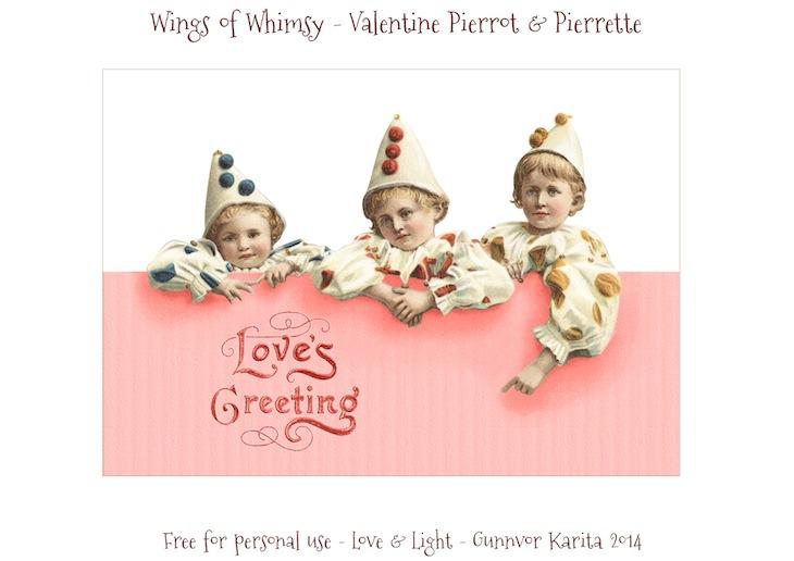 Wings of Whimsy: Vintage Valentine Pierrots & Pierrettes - DAY 6 - free for personal  use #vintage #ephemera #printable #freebie