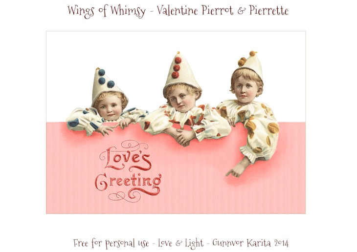 Wings of Whimsy: Vintage Valentine Pierrots & Pierrettes - DAY 6 - free for personal  use #vintage #ephemera #printable #freebie