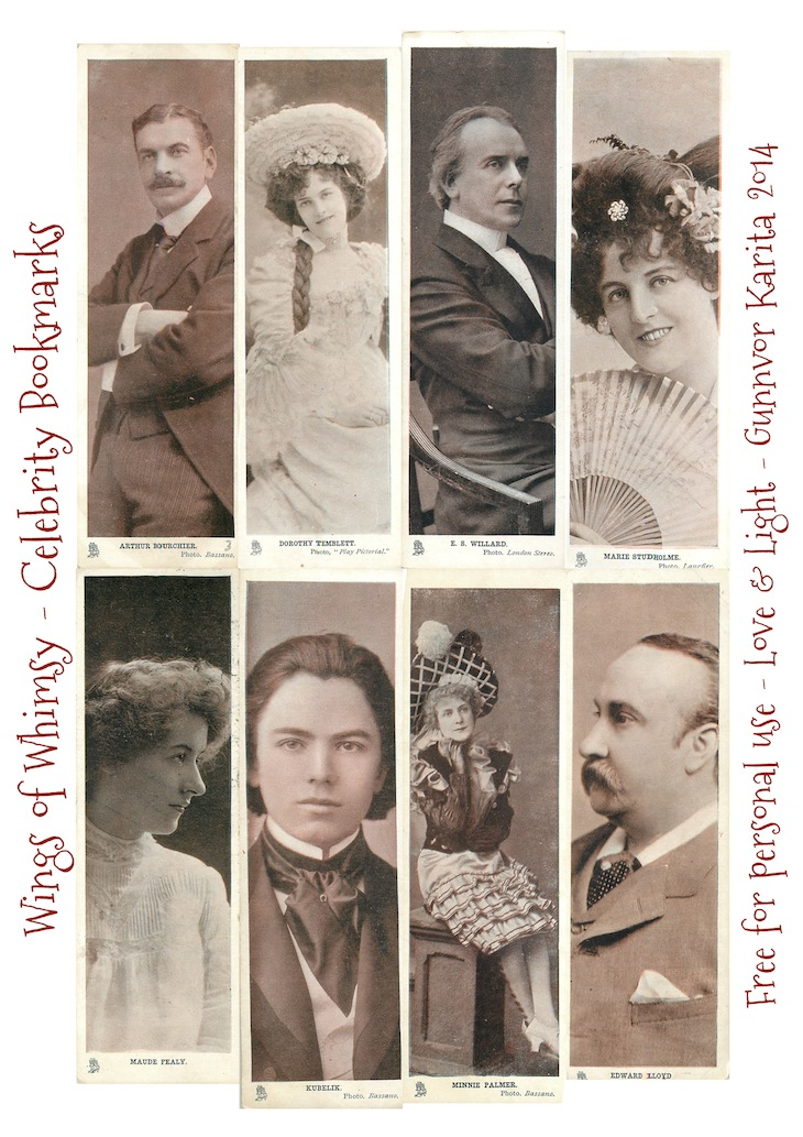 Wings of Whimsy: Vintage Celebrity Bookmarks - free for personal use #vintage #ephemera, #bookmark #reading #printable #freebie