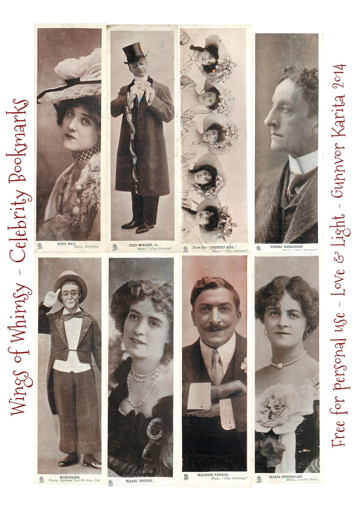 Vintage Celebrity Bookmarks – free printables – Wings of ...