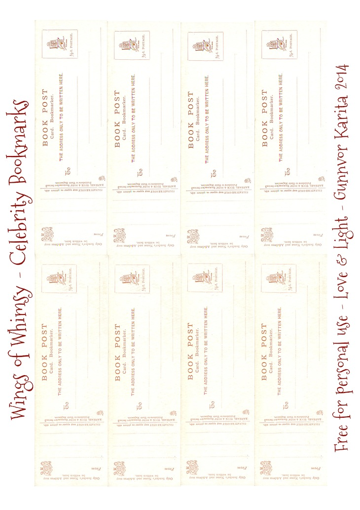 Wings of Whimsy: Vintage Celebrity Bookmarks Postcard Backsides - free for personal use #vintage #ephemera, #bookmark #reading #printable #freebie