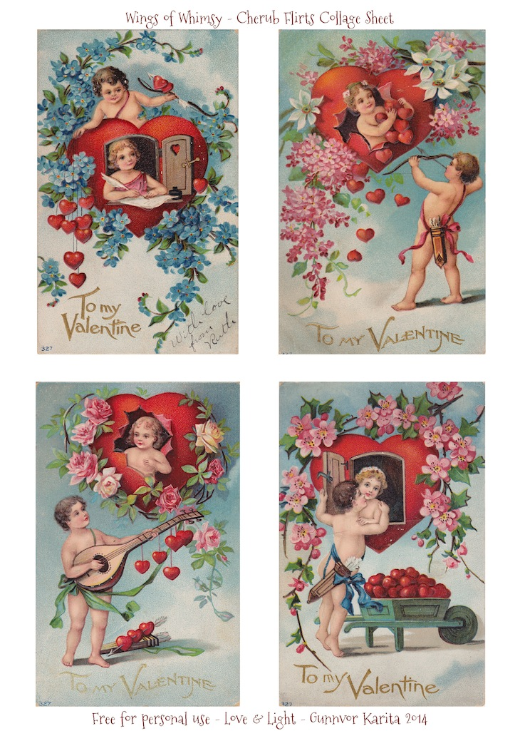 Wings of Whimsy: Cherub Flirts Collage Sheet - free for personal use #vintage #ephemera #printable #freebie #valentine #love #cherub