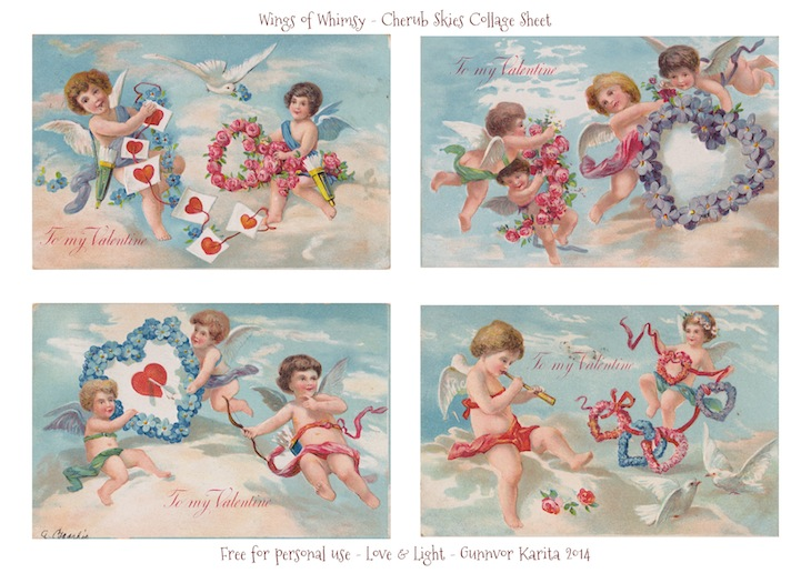 Wings of Whimsy: Cherub Skies Collage Sheet - free for personal use #vintage #ephemera #printable #freebie #valentine #love #cherub