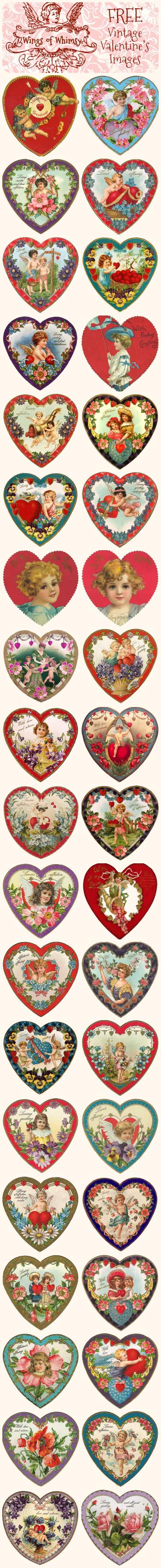 Wings of Whimsy: Valentine Hearts - free for personal use #vintage #ephemera #printable #freebie #valentine #cherub #heart