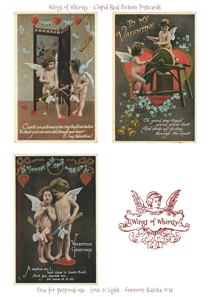 Wings of Whimsy: RPP Valentine Cupid - free for personal use - #vintage #valentine #printable #freebie #love #heart #cupid