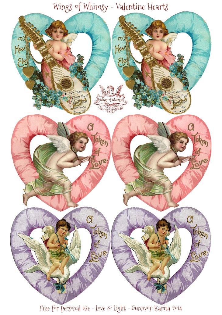 Wings of Whimsy: Valentine Hearts Large - free for personal use #vintage #ephemera #printable #freebie #valentine #cherub #heart