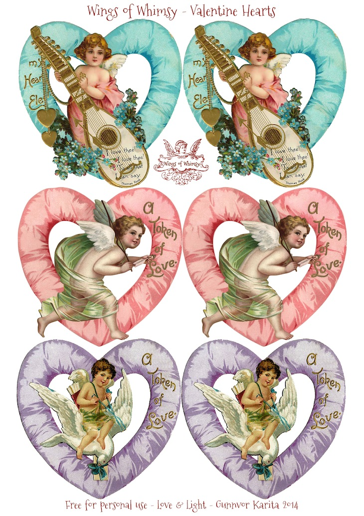 Wings of Whimsy: Valentine Hearts Large - free for personal use #vintage #ephemera #printable #freebie #valentine #cherub #heart