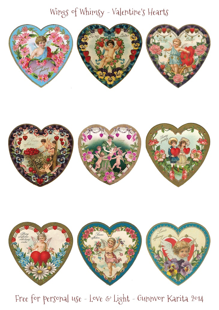 Wings of Whimsy: Valentine Hearts DAY 3 - free for personal use #vintage #ephemera #printable #freebie #valentine #cherub #heart