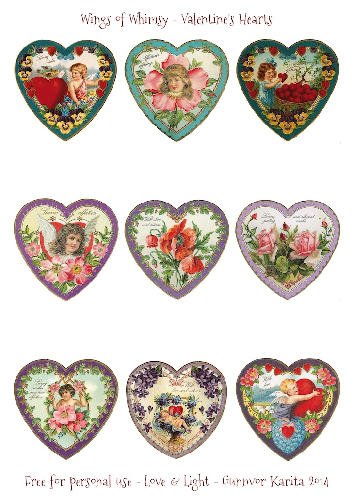 Wings of Whimsy: Valentine Hearts DAY 4 - free for personal use #vintage #ephemera #printable #freebie #valentine #cherub #heart