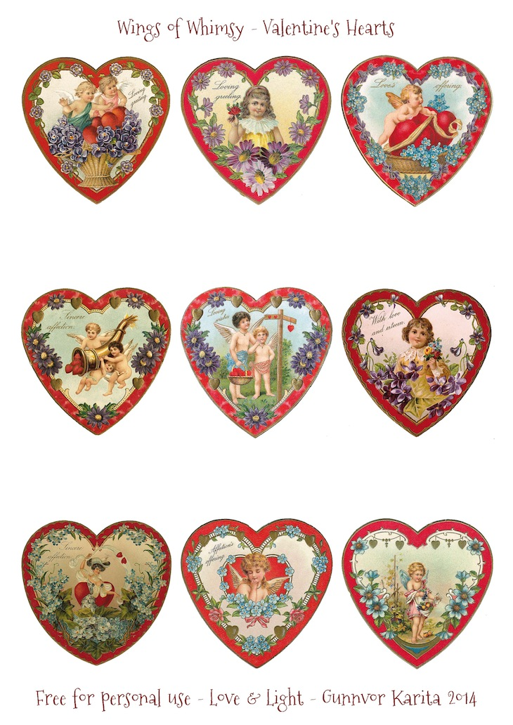 Wings of Whimsy: Valentine Hearts DAY 5 - free for personal use #vintage #ephemera #printable #freebie #valentine #cherub #heart