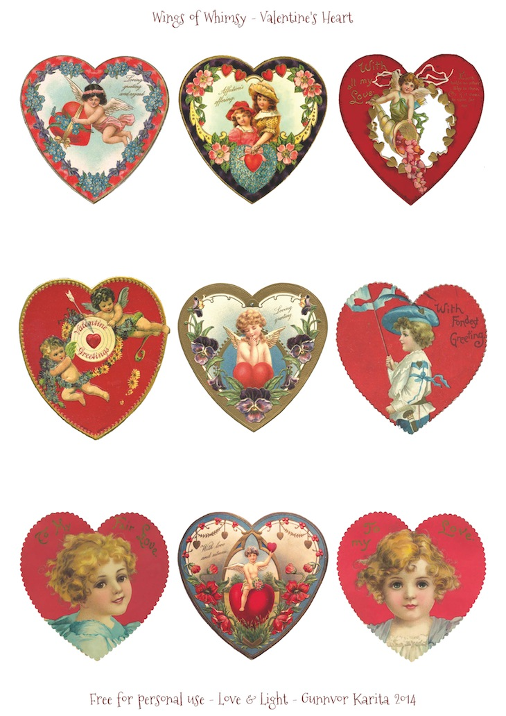 Wings of Whimsy: Valentine Hearts DAY 6 - free for personal use #vintage #ephemera #printable #freebie #valentine #cherub #heart
