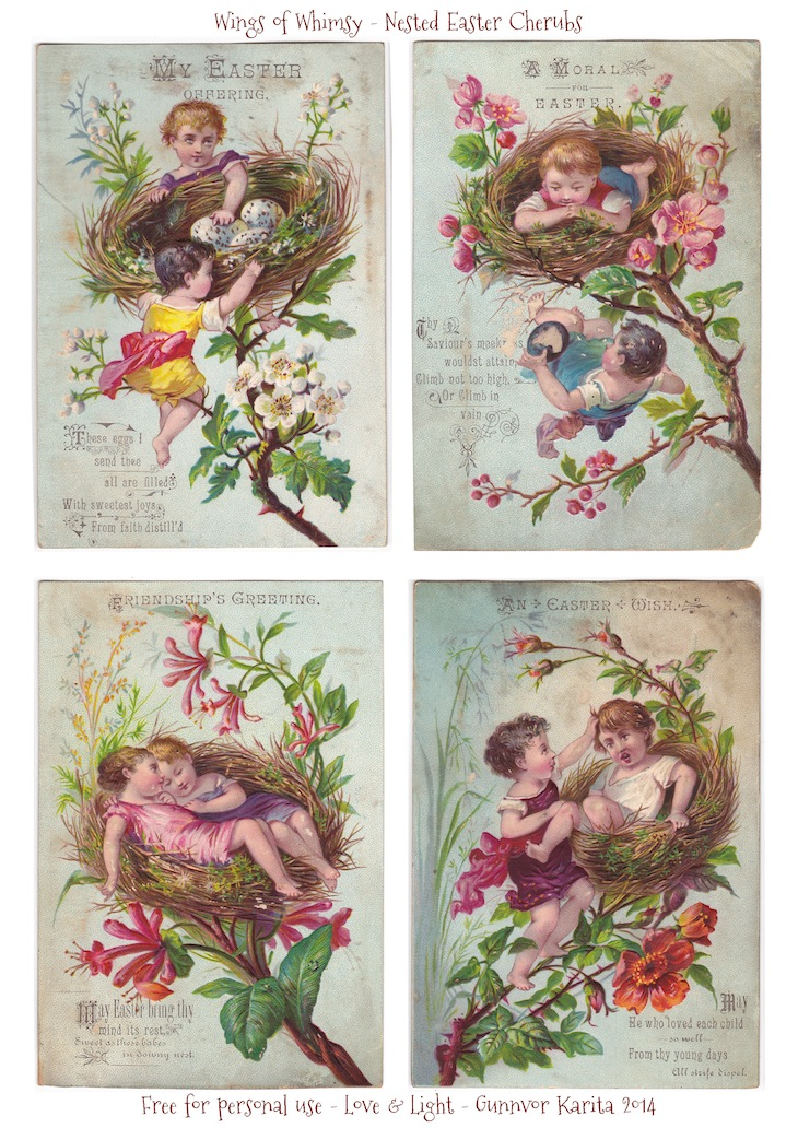 Wings of Whimsy: Nested Easter Cherubs #vintage #printable #ephemera #freebie #easter