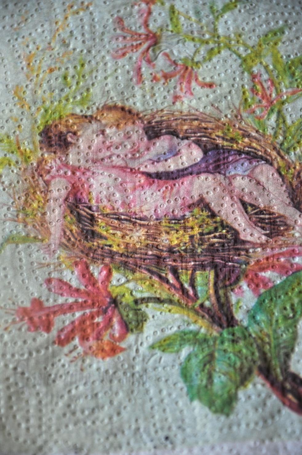 Wings of Whimsy: Nested Easter Cherubs printed on paper towel #vintage #printable #ephemera #freebie #easter