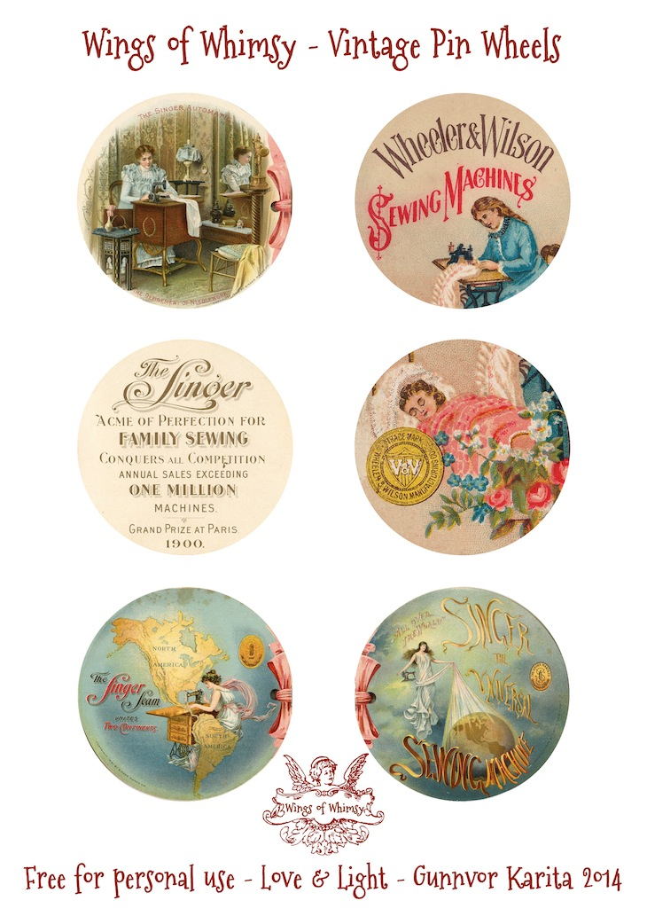 Wings of Whimsy - Printable Vintage Pin Wheels - free for personal use #vintage #printable #ephemera #sewing #freebie