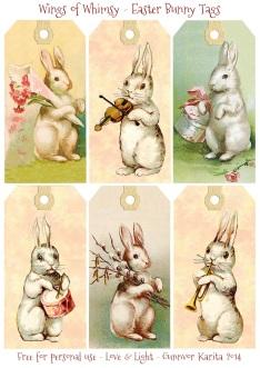 Wings of Whimsy: Vintag Easter Bunnies Tags - free for personal use #vintage #easter #ephemera #freebie #printable #easter