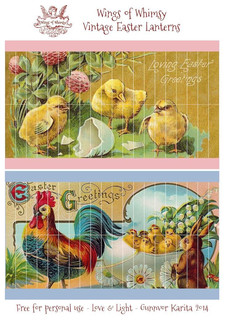Wings of Whimsy: DIY VIntage Easter Lanterns - free for personal use #vintage #ephemera #printable #freebie #easter