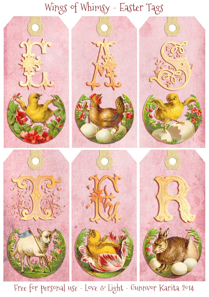 Vintage Easter Tags – free printables | Wings of Whimsy