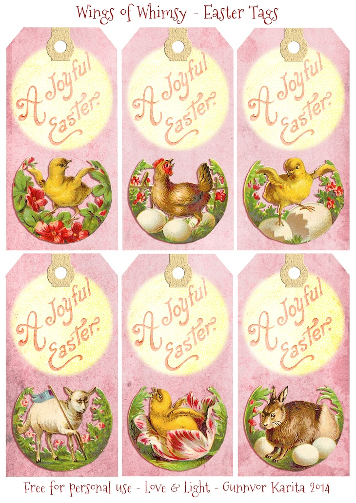 Wings of Whimsy: Vintage Easter Greeting Tags - free for personal use #vintage #ephemera #typography #french #easter #printable #freebie