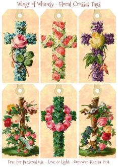 Wings of Whimsy: Vintage Floral Crosses Tags - free for personal use #vintage #easter #ephemera #freebie #printable #easter