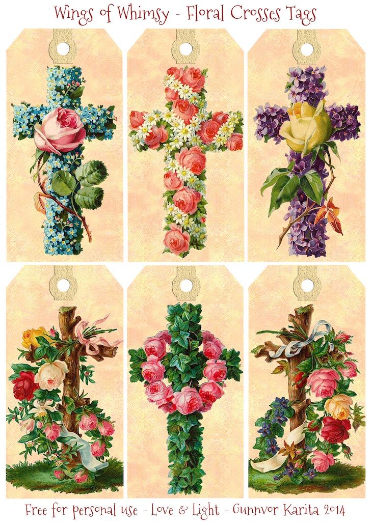 Wings of Whimsy: Vintage Floral Crosses Tags -  free for personal use #vintage #easter #ephemera #freebie #printable #easter