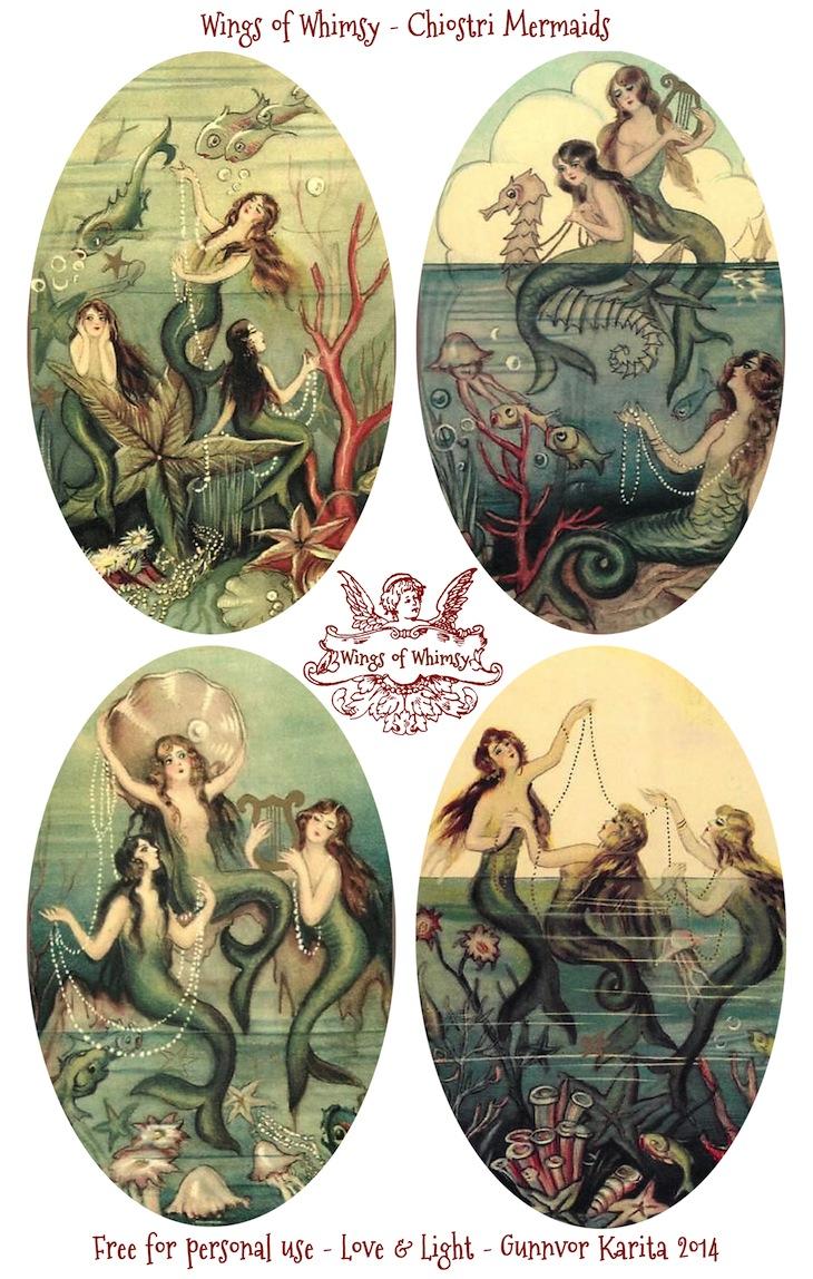 Wings of Whimsy: Chiostri Mermaids #vintage #ephemera #tags #mermaids #freebie #printable