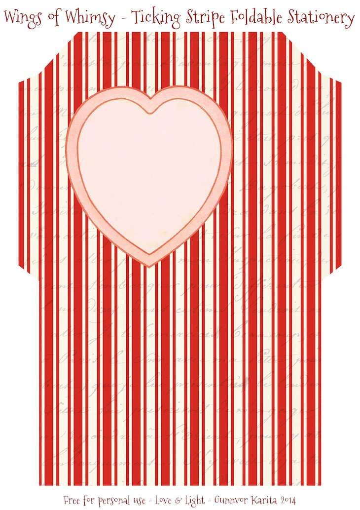 Wings of Whimsy: Ticking Striped Foldable Stationery #vintge #french #ephemera #stationery #freebie #printable