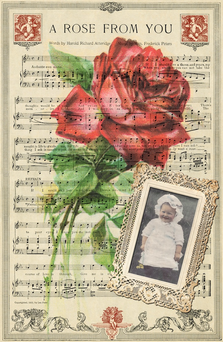 Wings of Whimsy: A Rose From You Digital Collage #vintage #ephemera #printable #freebie