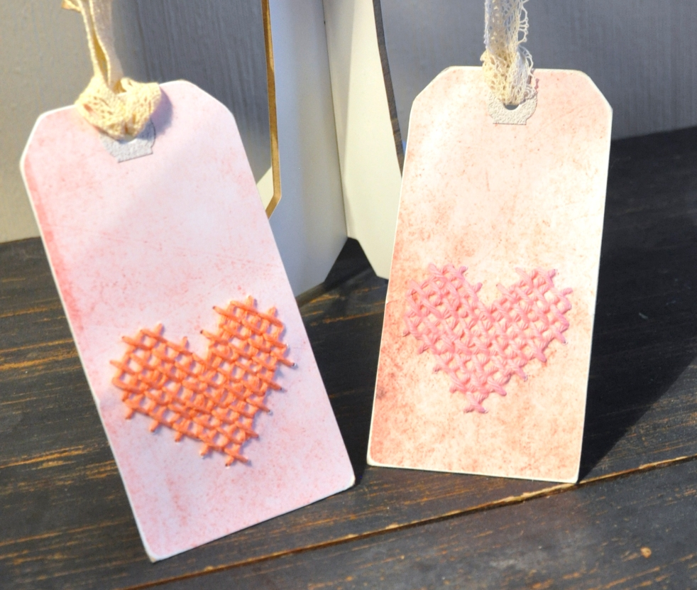 Wings of Whimsy: DIY Embroidered Heart Tags #vintage #ephemera #printable #freebie #diy