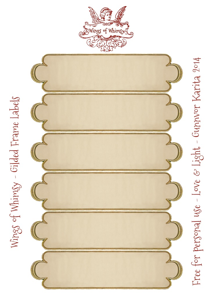 Wings of Whimsy: Gilded Frame Labels Collage Sheet #vintage #ephemera #freebie #printable #label
