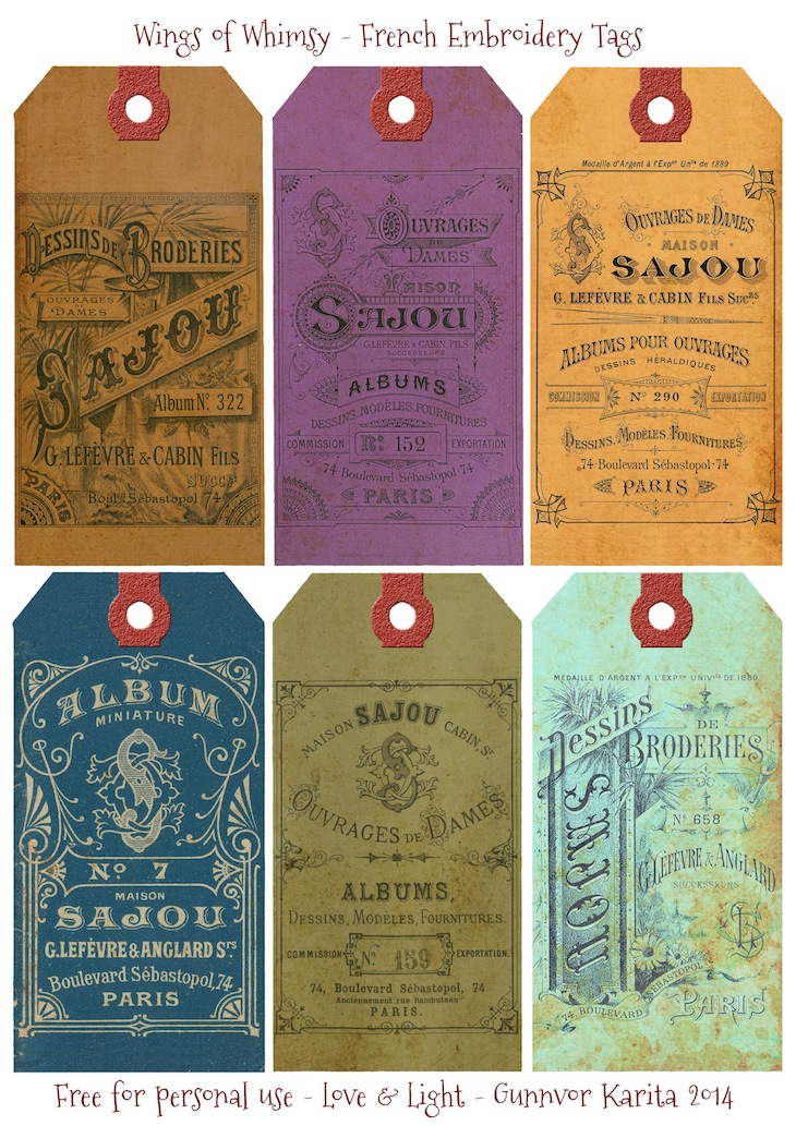 Wings of Whimsy: Sajou Embroidery Tags #vintage #ephemera #printable #freebie #diy