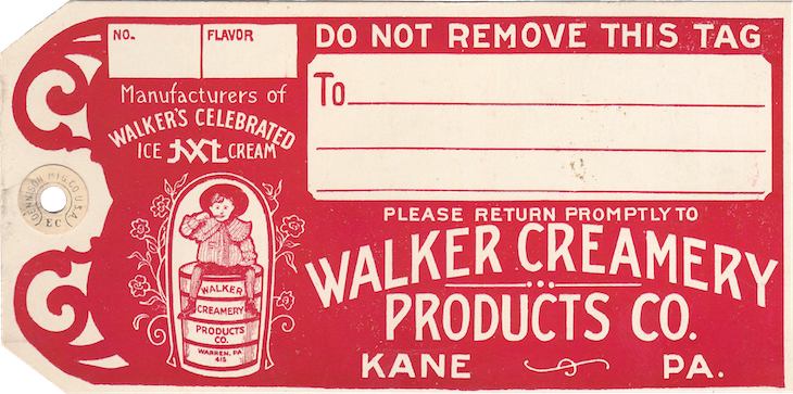 Wings of Whimsy: Walker Creamery Ice Cream Tag #vintage #ephemera #printable #freebie