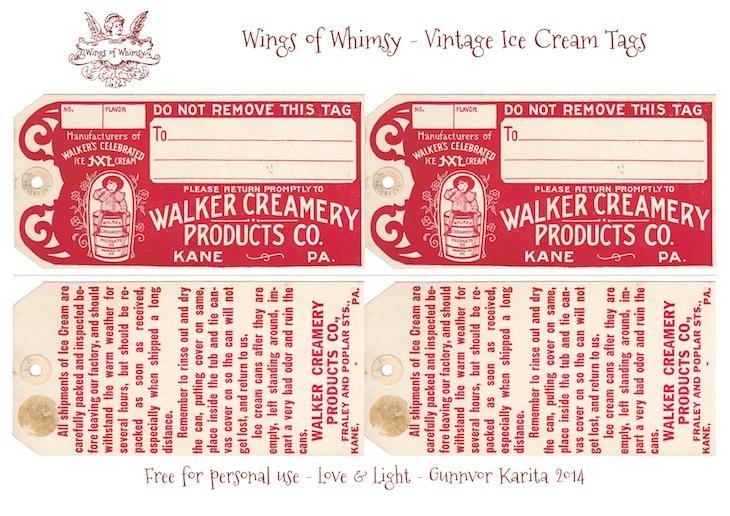 Wings of Whimsy: Walker Creamery Ice Cream Tags Collage Sheet #vintage #ephemera #printable #freebie