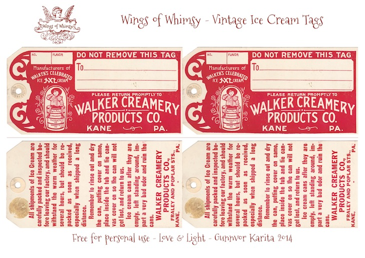 Wings of Whimsy: Walker Creamery Ice Cream Tags Collage Sheet #vintage #ephemera #printable #freebie