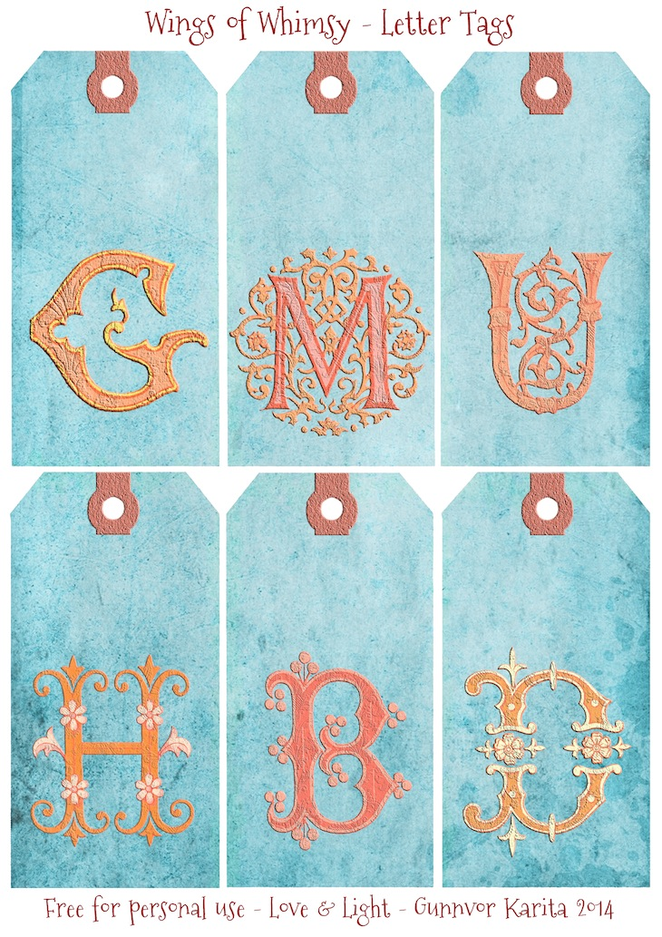 Wings of Whimsy: French Initials Tags 1 #vintage #ephemera #freebie #printable #tags