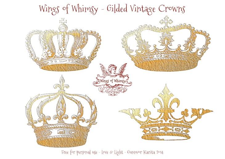 Wings of Whimsy: Gilded Vintage Crowns - Collage Sheet  #vintage #freebie #printable #scrap