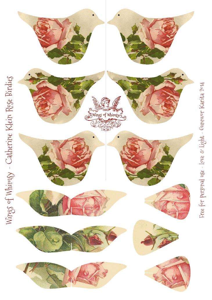 Wings of Whimsy: Catherine Klein Rose Birdies - #vintage #ephemera #freebie #printable #bird