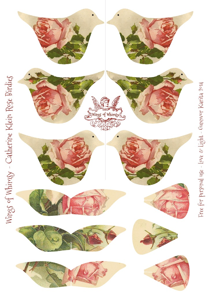 Wings of Whimsy: Catherine Klein Rose Birdies - #vintage #ephemera #freebie #printable #bird