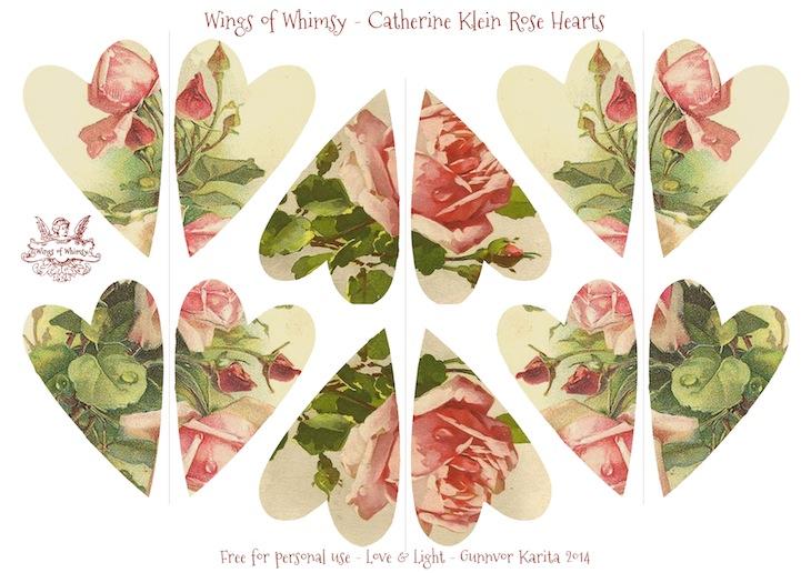 Wings of Whimsy: Catherine Klein Rose Hearts #vintage #ephemera #freebie #printable #heart #diy