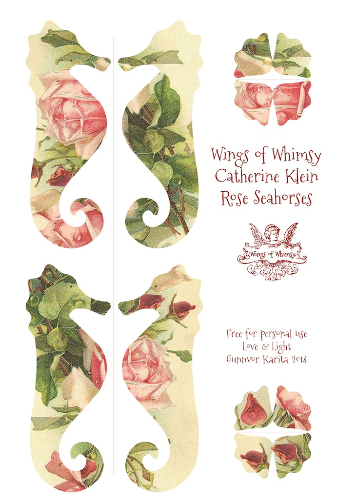 Wings of Whimsy: Catherine Klein Rose Seahorse #vintage #ephemera #freebie #printable #seahorse #diy