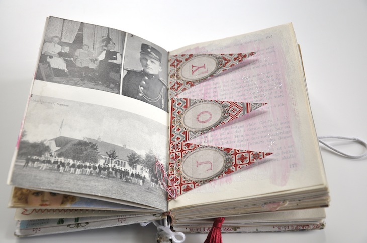 Wings of Whimsy - DIY Old Book Crafts No 6B - Sweet Pea Journal - Unaltered original page with b&w photos and sewn garland