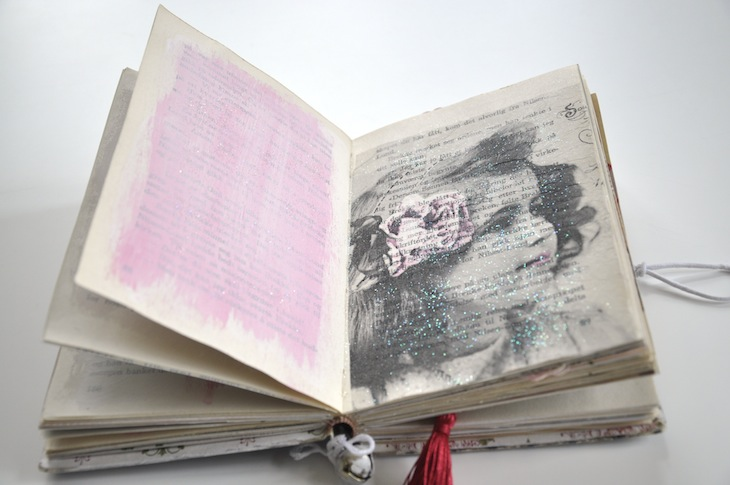 Wings of Whimsy - DIY Old Book Crafts No 6B - Sweet Pea Journal - Decoupaged napkin