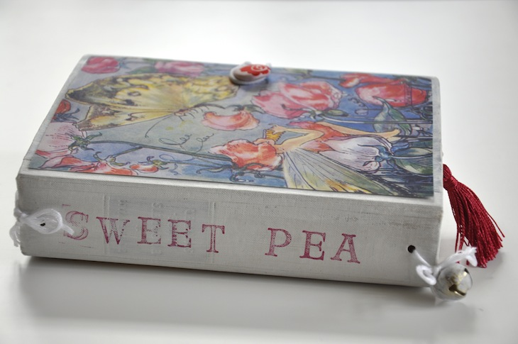Wings of Whimsy - DIY Old Book Crafts No 6C - Sweet Pea Journal - Stamped Spine