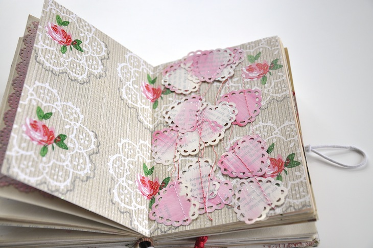 Wings of Whimsy - DIY Old Book Crafts No 6B - Sweet Pea Journal - Wrapped Heart Garland