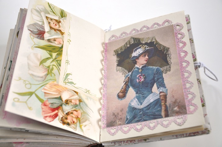 Wings of Whimsy - DIY Old Book Crafts No 6B - Sweet Pea Journal - Punched paper lace frame