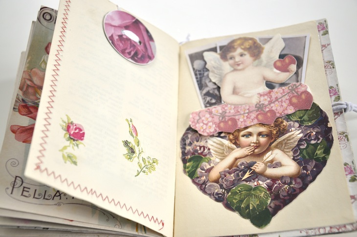 Wings of Whimsy - DIY Old Book Crafts No 6B - Sweet Pea Journal - Cherub Heart pocket for extra bookmarks and sewn pocket for scraps and notecards