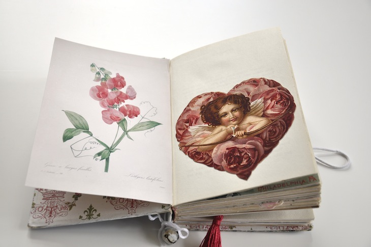 Wings of Whimsy - DIY Old Book Crafts No 6B - Sweet Pea Journal - Cherub Heart pocket for personal note
