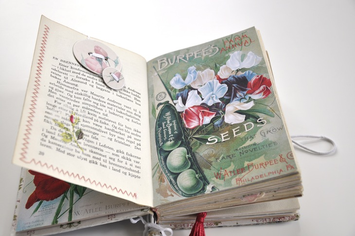 Wings of Whimsy - DIY Old Book Crafts No 6B - Sweet Pea Journal - Sewn pocket for scraps and note cards