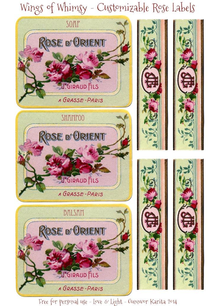 Wings of Whimsy: Customizable French Rose Labels - #vintage #ephemera #printable #freebie #customizable #label