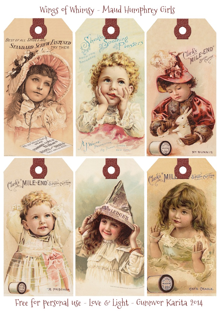 Wings of Whimsy: Maud Humphrey Girls #vintage #ephemera #printable #freebie #trade card